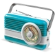 LT91110 - Powerbank 6000mAh & Retro Speaker 3W - Licht Blauw / Wit