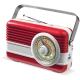 LT91110 - Powerbank 6000mAh & Retro Speaker 3W - Rood / Wit